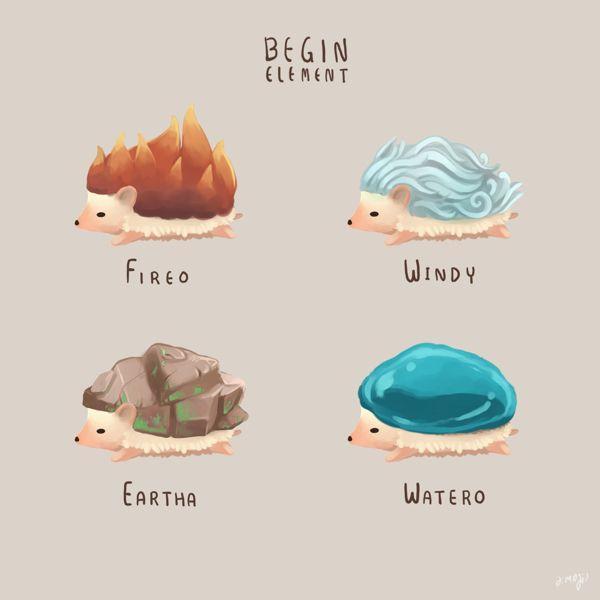 Element-egeltjes: vuur, lucht, aarde en water