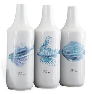 Trio Hand Painted Coastal Style Beach Blue  Fish Vase #kathykuohome