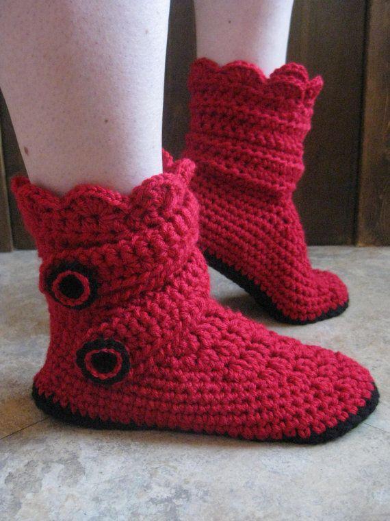 Women's handmade crochet snow boot slippers by MimicoCrochet