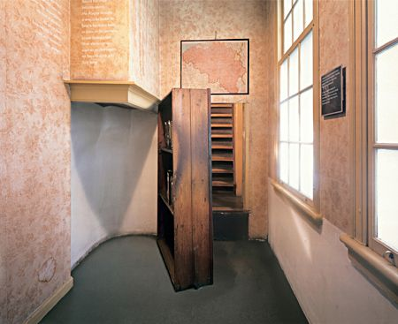 The secret entrance behind the bookcase in the Anne Frank House, Amsterdam, the Netherlands.