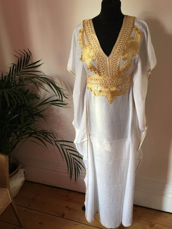 White and gold moroccan kaftan, uk size 8-12