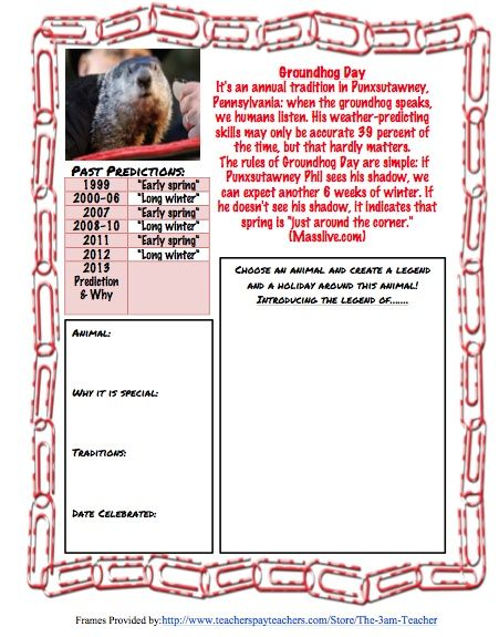 Groundhog Day Middle School Writing Activity