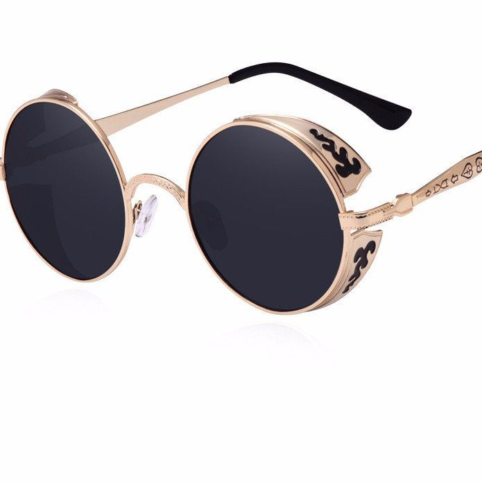 Steampunk Vintage Sunglass w/ metal carving