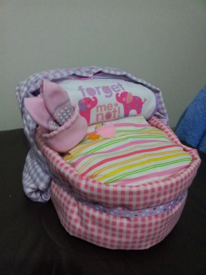 Baby Girl Bassinet Nappy Cake