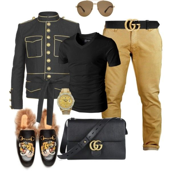 A menswear look from January 2017 by sanchez-drummond featuring Balmain, Gucci, Rolex, men's fashion and menswear