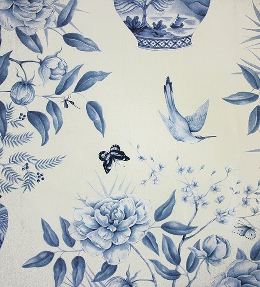 Romey's Garden Fabic A floral curtain fabric featuring a trail of flowering peony branches and buds in chinese style pottery, birds, butterflies and insects in wedgwood blue on a cream background.
