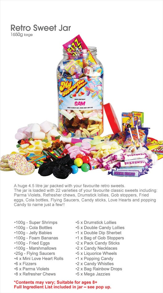 Retro sweet jar - A personalised jar full of your favourite retro sweets, edit the text on the jar to make it a great gift