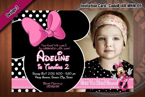 MINNIE MOUSE Invitations - Black and white polka dots, Light pink, Zebra  Birthday Party Invitation (CHOOSE 1 design) 4x6