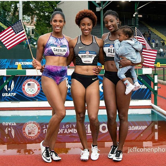 Whoa!!! Congrats to these 3 beautiful young ladies who I just watched SMASH the 100M hurdles and take GOLD, SILVER, AND BRONZE for team USA. Never heard of them before this moment but im totally inspired by what theyve just accomplished #USAsweep #RIO2016 #briannarollins #niaali #kristicastlin #inthatorder #browngirlscametoRiotoWIN