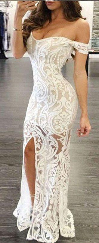 White Prom Dresses,Sheath Prom Dresses, Off-the-Shoulder Prom Dress, Long Prom Dresses,Lace Prom Dress with Split,Sexy Prom Dresses,Prom Dresses