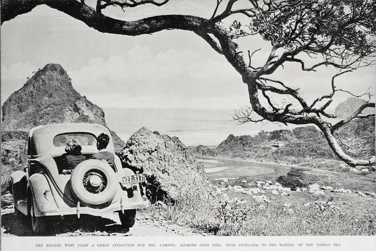 Sitting in the back dicky seat. A view of Piha camping 1936.