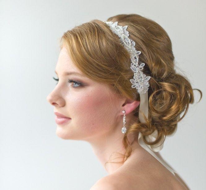 Bridal Ribbon Headband, Bridal Lace Headband, Luxe Satin Ribbon Headband, Wedding Head Piece, Bridal Hair Accessory. $69.00, via Etsy.