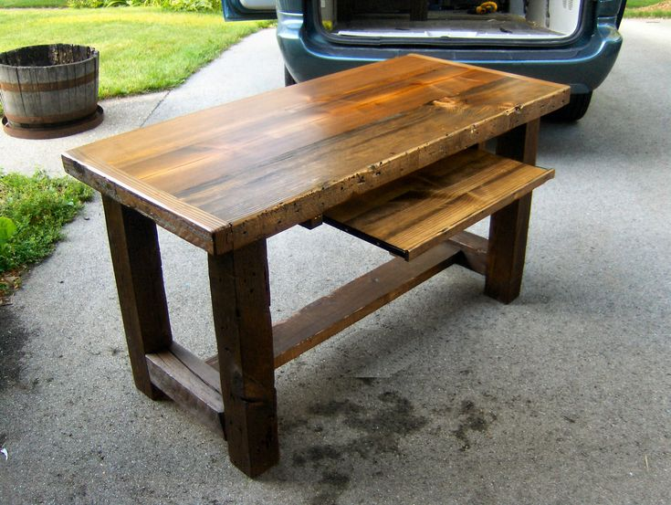 Old barn wood desk - not sure if I like the different materials wrapping the top but I do like the appearance of thickness.
