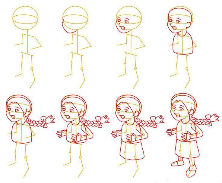 Dibujo para colorear como dibujar una ni a dibujando for Dibujo de una piedra para colorear
