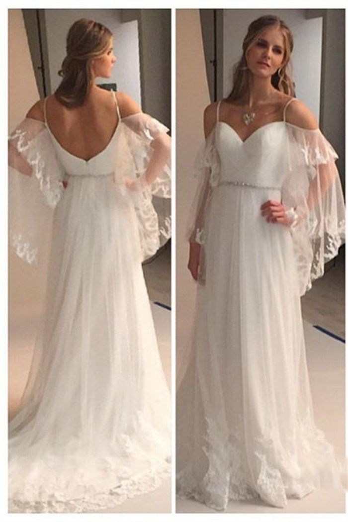 c18d2066bd Spaghetti Straps Sweetheart Beach Wedding Dress 2018 Illusion Sleeves Bridal  Gowns BA0545