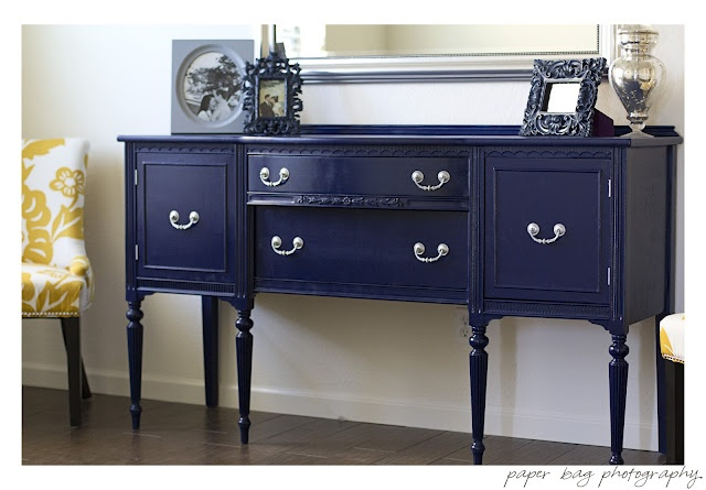 DIY Navy Blue Buffet. Gorgeous! also lots of tips for spray painting furniture.