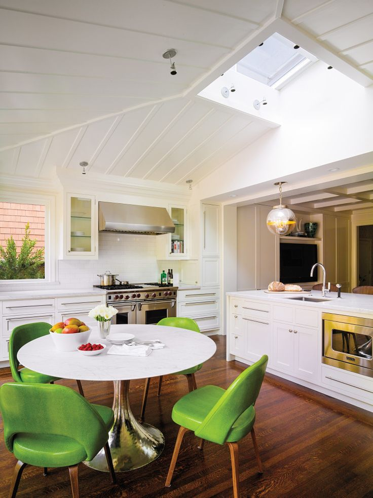 chartreuse kitchen chairs, design by Palmer Weiss