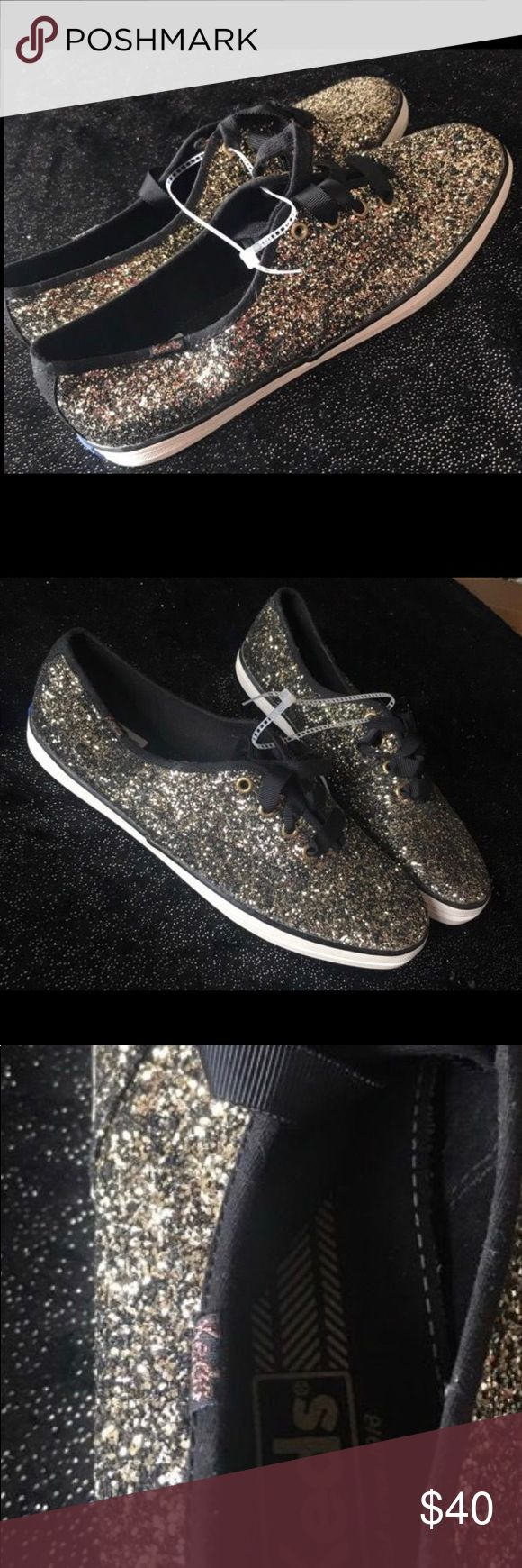 ❗️Flash Sale❗️NWT Sparkle KEDS Shoes 9.5 NWT Sparkle KEDS Shoes 9.5 Paid $70 So beautiful Color: black & Gold Keds Shoes Sneakers