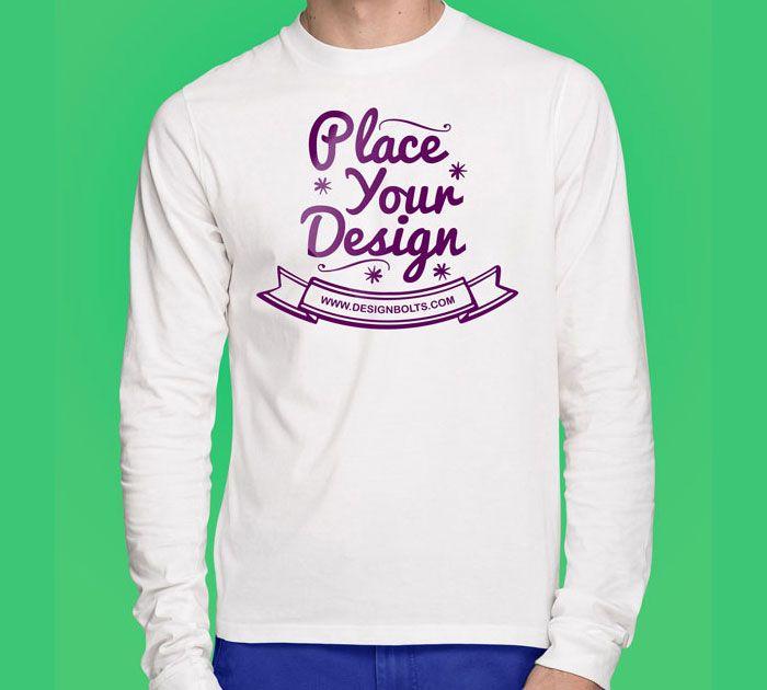 Download Free White Long Sleeves T Shirt Mock Up Photoshop Psd File Front Backside Clothing Mockup Shirt Mockup Shirt Template
