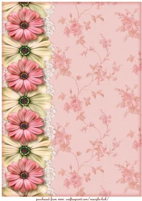 A4 Vintage Roses Background Paper Bordered Paper Paper