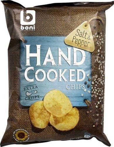 BONI SELECTION chips poivre - sel 125g Hand coocked Boni Sélection offre des chips de pommes de terre extra crispy légèrement salés et poivrés. Les chips de Boni Sélection sont cuit à la main Délicieuses chips sur www.chockies.net