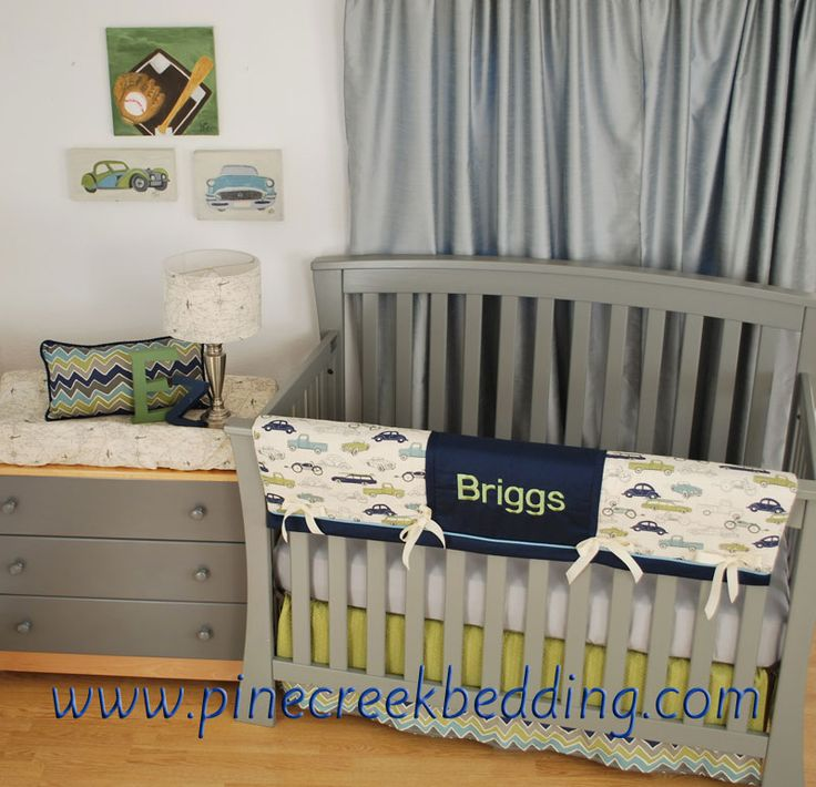 Navy crib bedding with Cars and Green Chevron and grey in