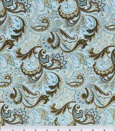 Keepsake Calico Fabric-Paisley Aqua & Brown Details http://www.joann.com/keepsake-calico-fabric-paisley-aqua-and-brown/1606136.html Item ...