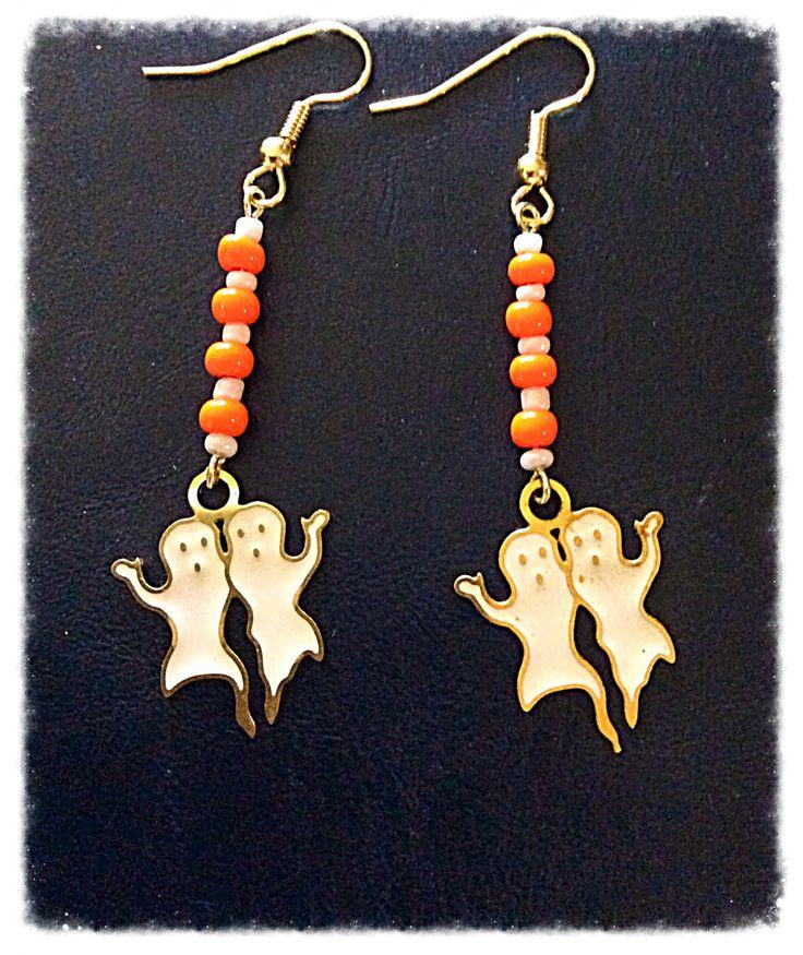 Casper Ghost Earrings, Halloween Ghost Earrings, Affordable Adjustable Jewelry, Cartoon Earrings, Orange White Earrings, Costume Jewelry by Ldmtreasures on Etsy