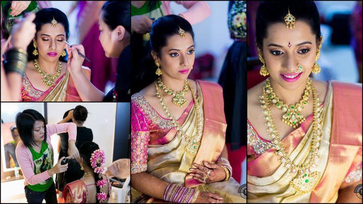 South indian bride wearing kanchipuram silk saree #makeup #southindianbride #southindianwedding #silksaree #kundanjewellery