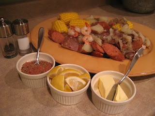 low country boil - recipe for 2. I am making it tonight for dinner with my family so I tripled the receipe.