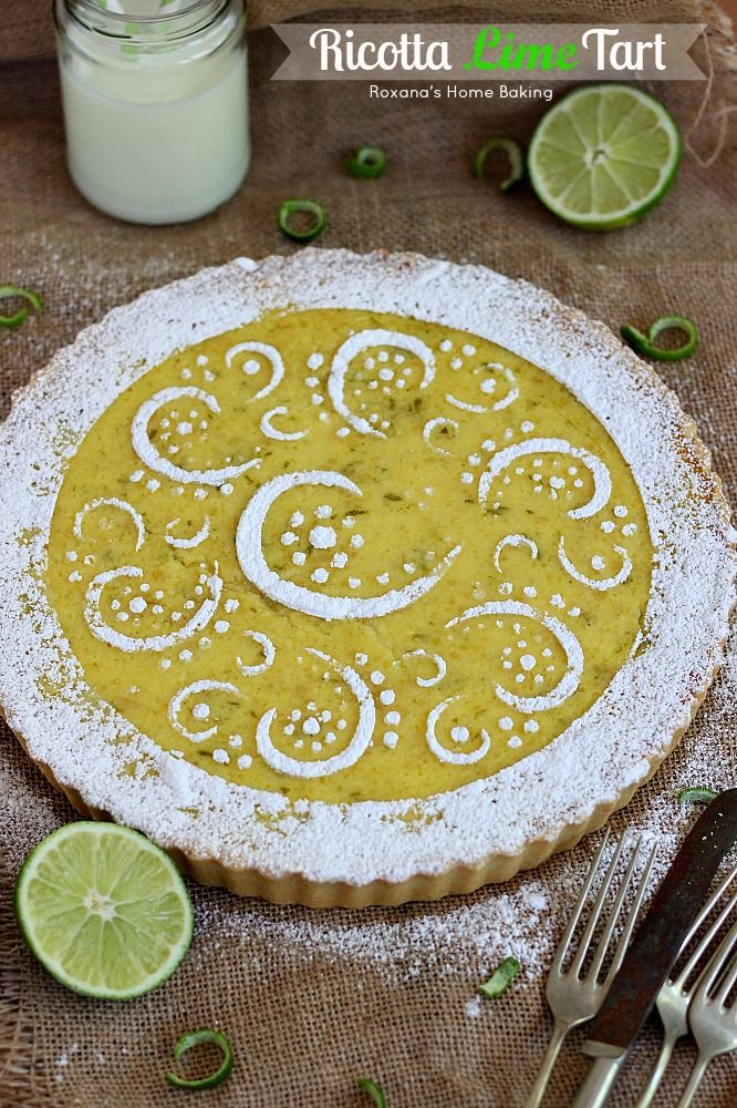 Creamy ricotta meets crunchy almonds and refreshing lime in this light tart, perfect for spring-summer dinner parties. Recipe from Roxanashomebaking.com