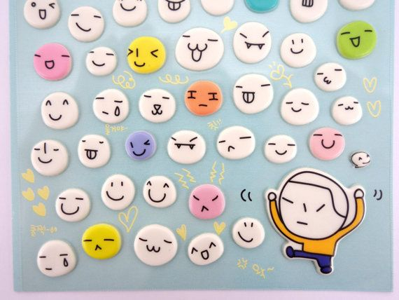 This is an adorable set of Korean emoticon puffy 3D stickers! Mostly happy faces!  These would be perfect for scrapbooking, card making, jewelry making, and other crafting projects!    * Ordering more than one item? Combined shipping rates will appear automatically when added to your cart. :)