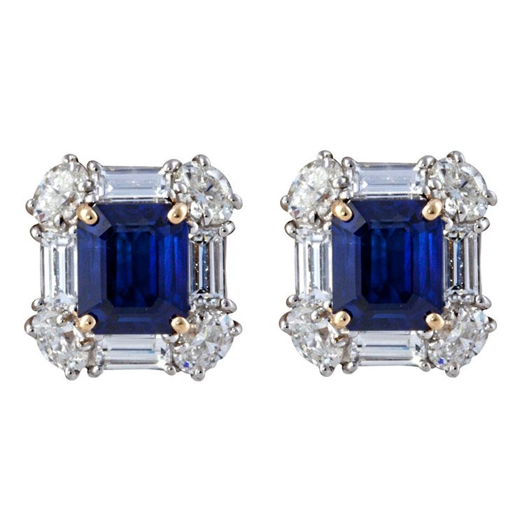 Emerald Cut Sapphire and Diamond Earrings | From a unique collection of vintage stud earrings at http://www.1stdibs.com/jewelry/earrings/stud-earrings/