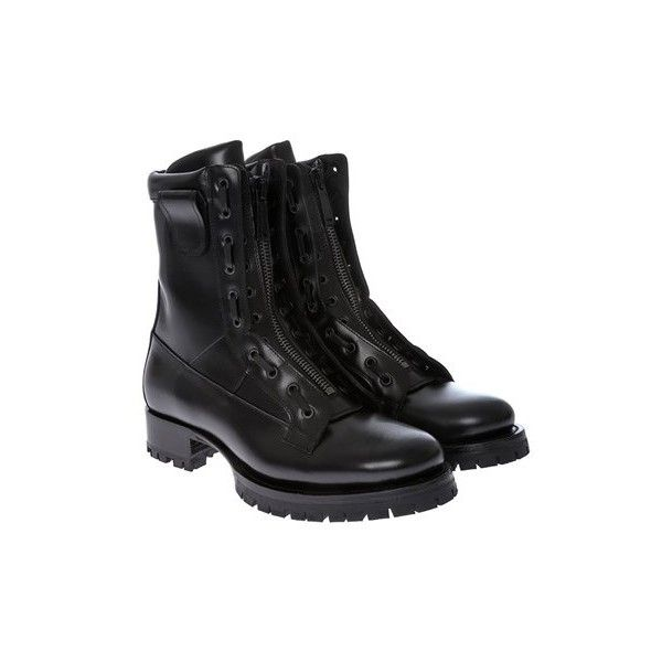 Dsquared2 Leather Combat Boots ($548) ❤ liked on Polyvore featuring men's fashion, men's shoes, men's boots, black, mens zipper boots, mens black shoes, mens leather military boots, dsquared2 mens shoes and mens black leather shoes