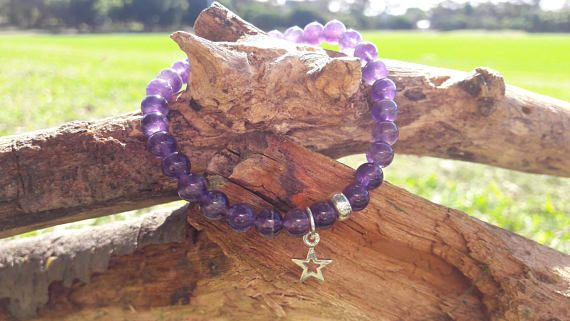 Amethyst Beaded Bracelet with Sterling Silver Star Charm
