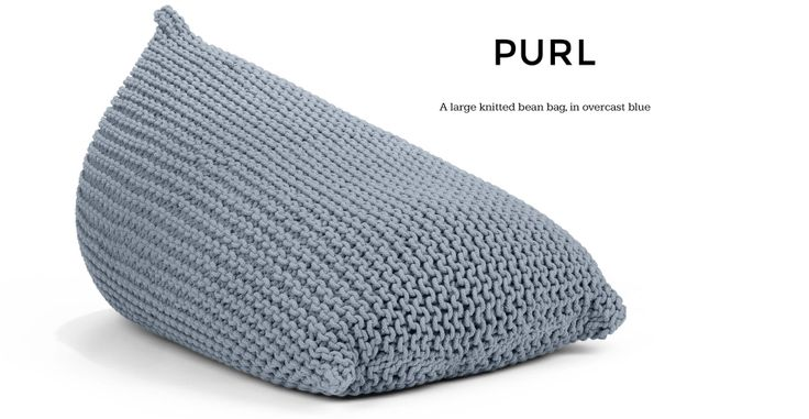 Purl Giant Knitted Beanbag in overcast blue | made.com