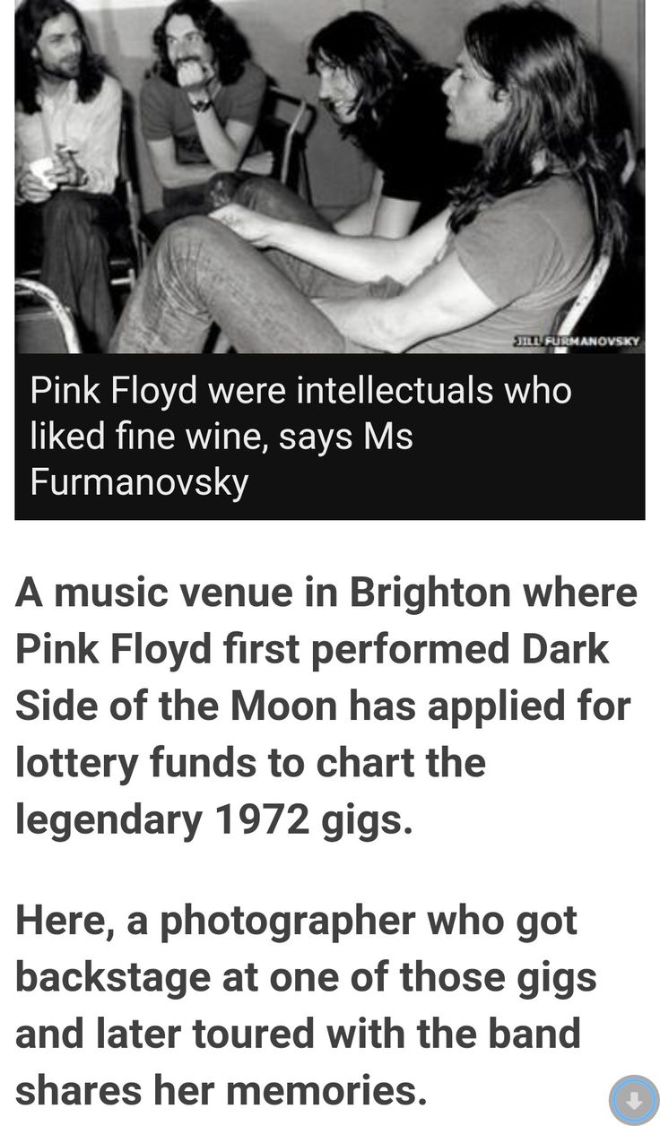 "Photo: Jill Furmanovsky. David Gilmour, BBC News, ""Pink Floyd's early Brighton Dome gigs recalled"" The first ever live performance of Dark Side of the Moon was interrupted due to technical problems."