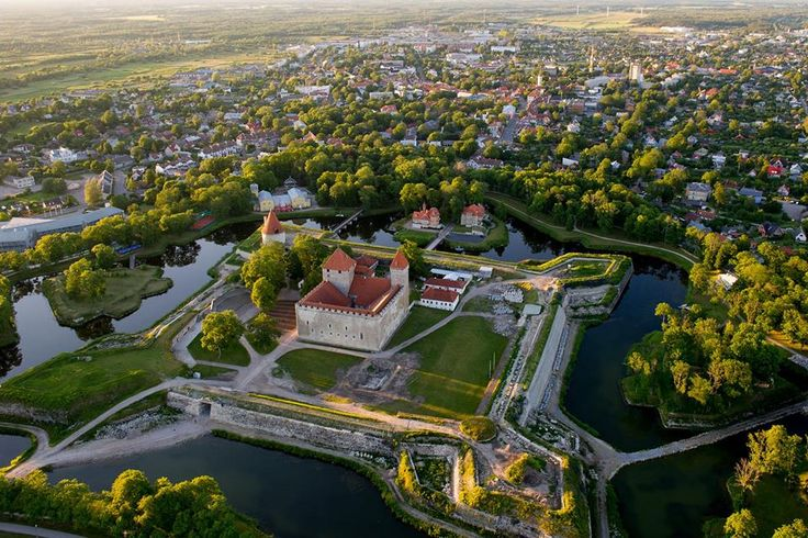 Kuressaare Castle is surrounded by the namesake town, Saaremaa, Estonia