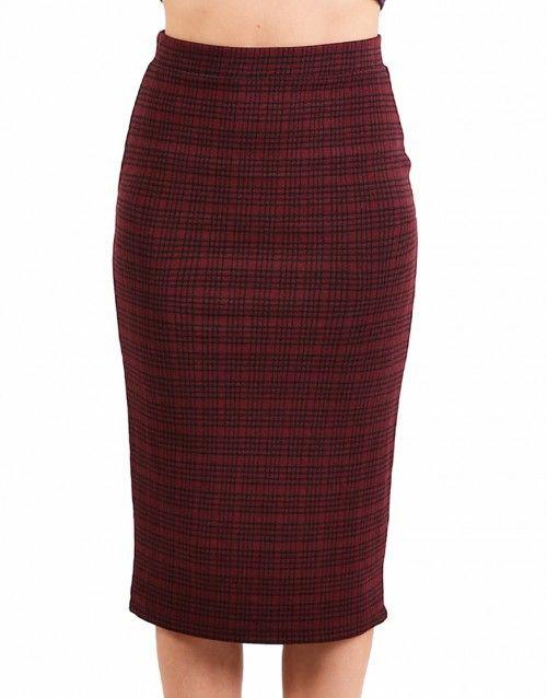 Καρό ζακάρ πένσιλ φούστα - Κόκκινο