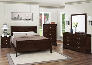 RED HOT DEAL ALERT: Louis Philippe Cappuccino Queen Bed, Dresser, Mirror & Nightstand,Coaster Furniture