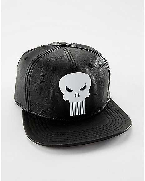 Faux Leather Punisher Snapback Hat - Marvel Comics - Spencer s ... ac54f520e0fe