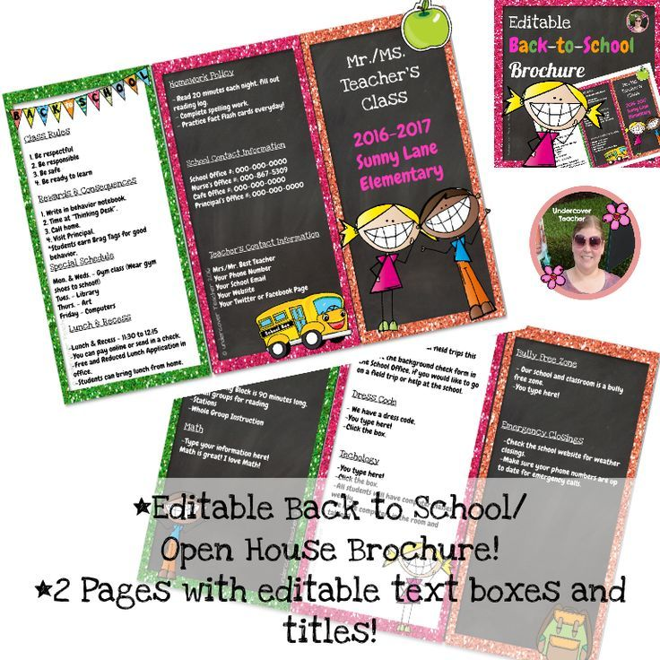 Need an easy way to tell your students' parents all the information they need to know? This Editable Back to School and Open House Brochure with cute graphics and glitter borders is perfect to communicate with your students' parents! This Editable Back to School Brochure contains: *A 2 page brochure in Powerpoint, just click on the text boxes to edit your titles and information.  Save ink and paper with this two page brochure!