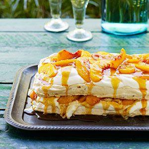 Almond Pavlova with Peaches, Cream, and Salted Peach Caramel | MyRecipes.com