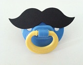 MUSTACHE PACIFIER (pink & yellow). $5.00, via Etsy.