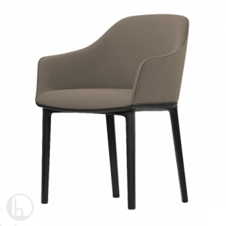 VITRA | Softshell Chair (four-leg-chair), Fabric plano, colour brick, plastic base chocolate, glides | Lachair.com