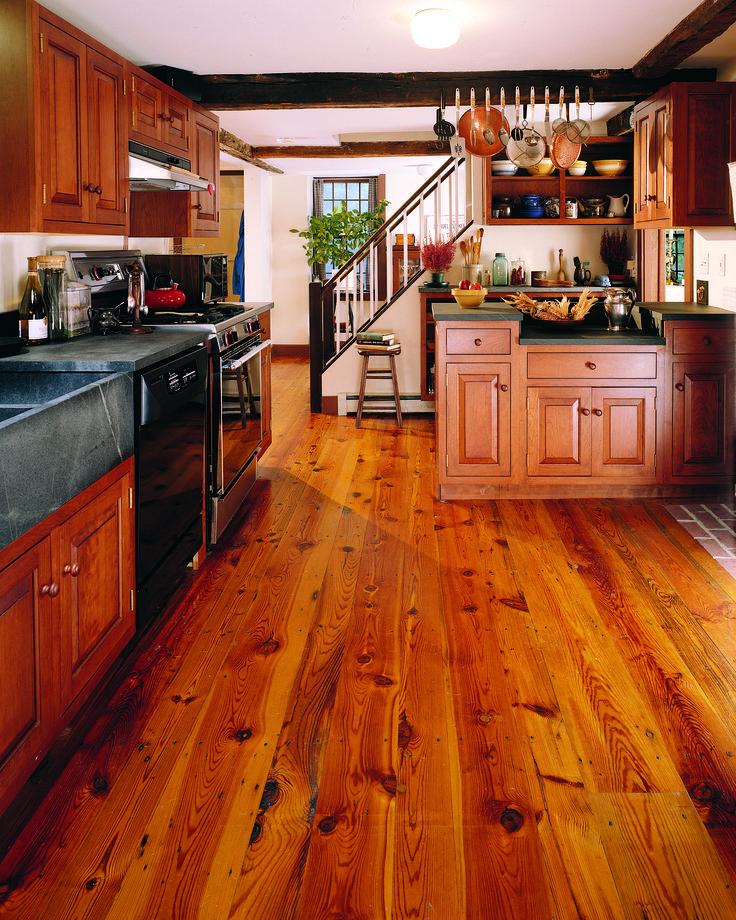 Reclaimed Heart Pine Flooring In Kitchen
