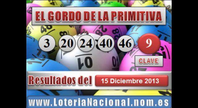El Gordo de la Primitiva sorteo Domingo 15 Diciembre de 2013. Fuente: www.loterianacional.nom.es