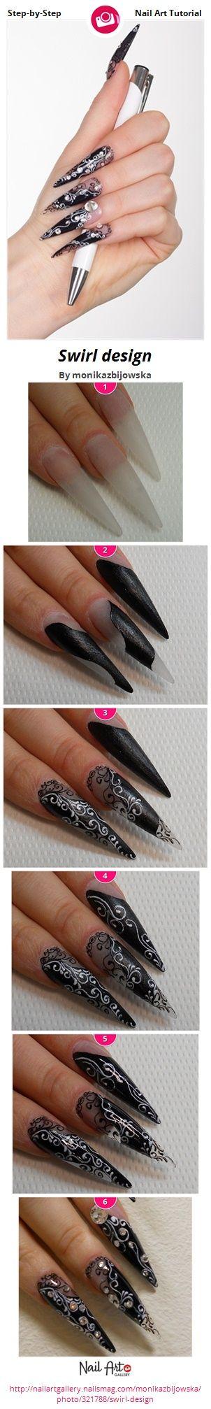 Swirl design by monikazbijowska - Nail Art Gallery Step-by-Step Tutorials nailartgallery.nailsmag.com by Nails Magazine www.nailsmag.com #nailart