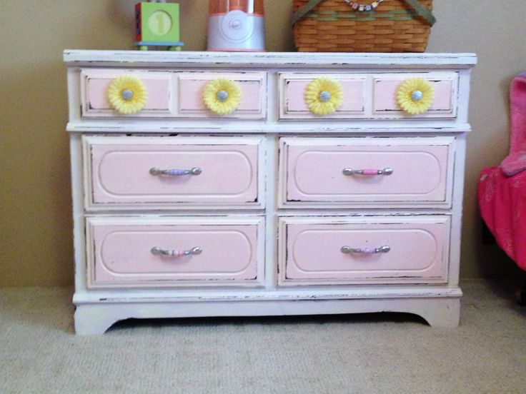 Distressed Dresser In Lavender U0026 Pink For Little Girls Room