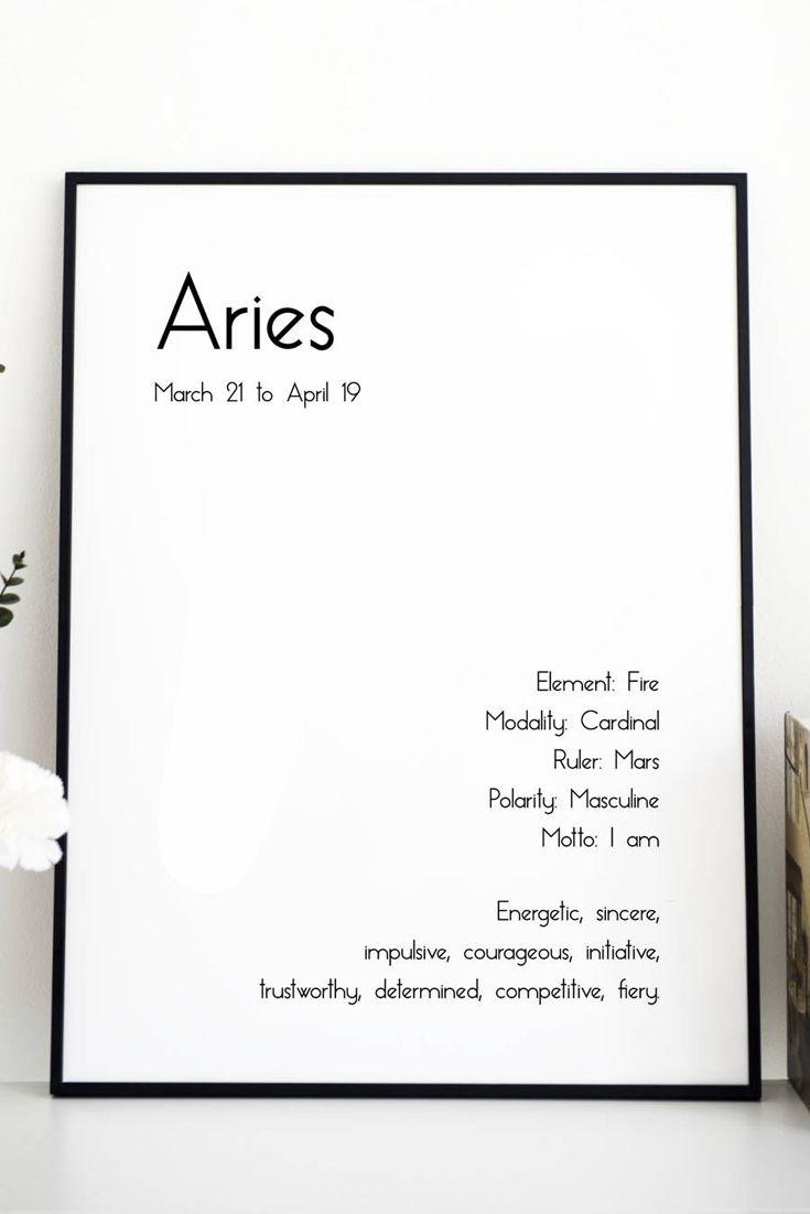 11x14 Aries Horoscope Sign Poster//Astrology//Zodiac Sign//Zodiac Poster//Horoscope Gifts//Living Room Decorations//Bedroom Decor//Black Wall Art//Home Wall Decor//Wall Sign